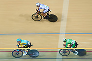 Ashgabat, Turkmenistan - 2017 September 23: (L-R)  Artyom Sakharov from Kazakhstan and Chun Wing Leung from Hong Kong and Sultan Mohammed Asiri from Kingdom of Saudi Arabia compete in Men's Omnium Scratch Final while Track Cycling competition during 2017 Ashgabat 5th Asian Indoor & Martial Arts Games at Velodrome (VEL) at Ashgabat Olympic Complex on September 23, 2017 in Ashgabat, Turkmenistan.<br /> <br /> Photo by © Adam Nurkiewicz / Laurel Photo Services