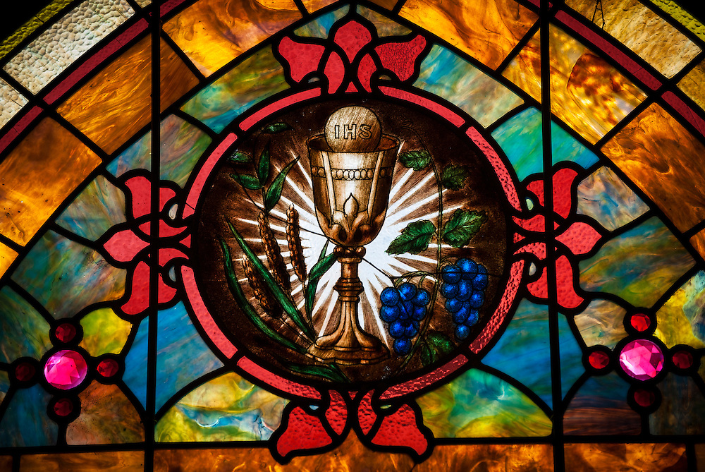 Stained glass window at St. Joseph Church in Ogden, Utah, depicting chalice and host. (Sam Lucero photo)