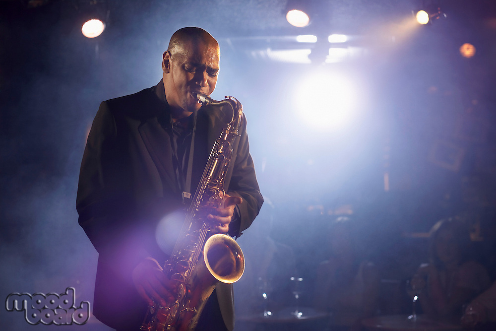 Saxophone player on stage portrait