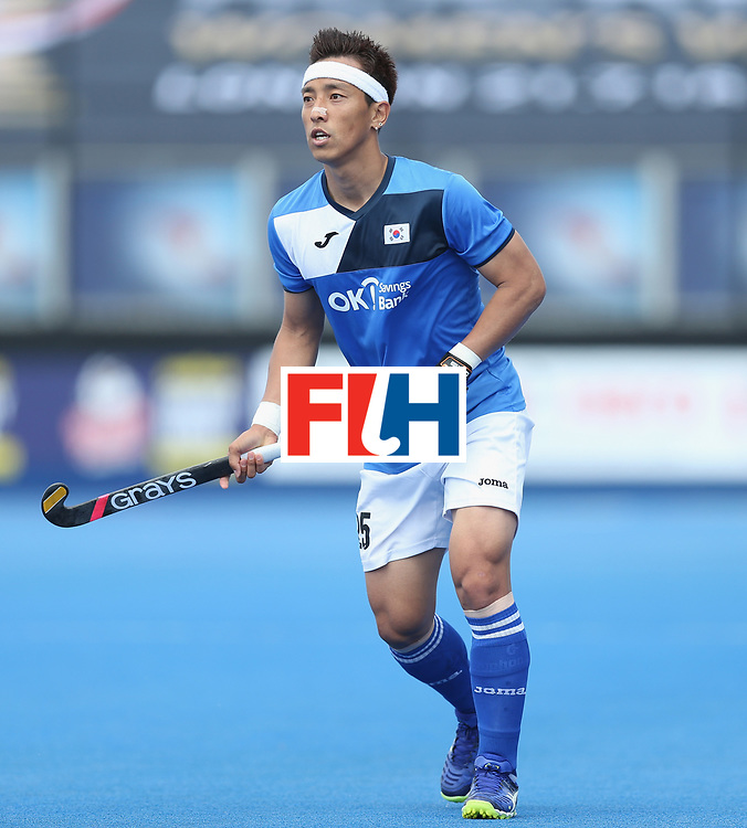 LONDON, ENGLAND - JUNE 17:  Jonghyun Jang of South Korea during the Hero Hockey World League semi final match between China and Korea at Lee Valley Hockey and Tennis Centre on June 17, 2017 in London, England.  (Photo by Alex Morton/Getty Images)