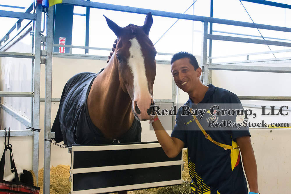 Julio Mendoza (ECU) and Chardonnay at the OLG Caledon Pan Am Equestrian Park during the Toronto 2015 Pan American Games in Caledon, Ontario, Canada.