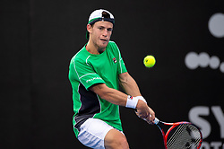 January 11, 2019 - Sydney, NSW, U.S. - SYDNEY, NSW - JANUARY 11: Diego Schwartzman (ARG) hits a backhand in his game against Andreas Seppi (ITA) at The Sydney International Tennis on January 11, 2018, at Sydney Olympic Park Tennis Centre in Homebush, Australia. (Photo by Speed Media/Icon Sportswire) (Credit Image: © Steven Markham/Icon SMI via ZUMA Press)