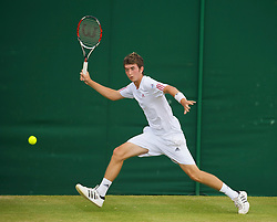 LONDON, ENGLAND - Saturday, June 27, 2009: George Morgan (GBR) during the Boys' Singles 1st Round match on day six of the Wimbledon Lawn Tennis Championships at the All England Lawn Tennis and Croquet Club. (Pic by David Rawcliffe/Propaganda)