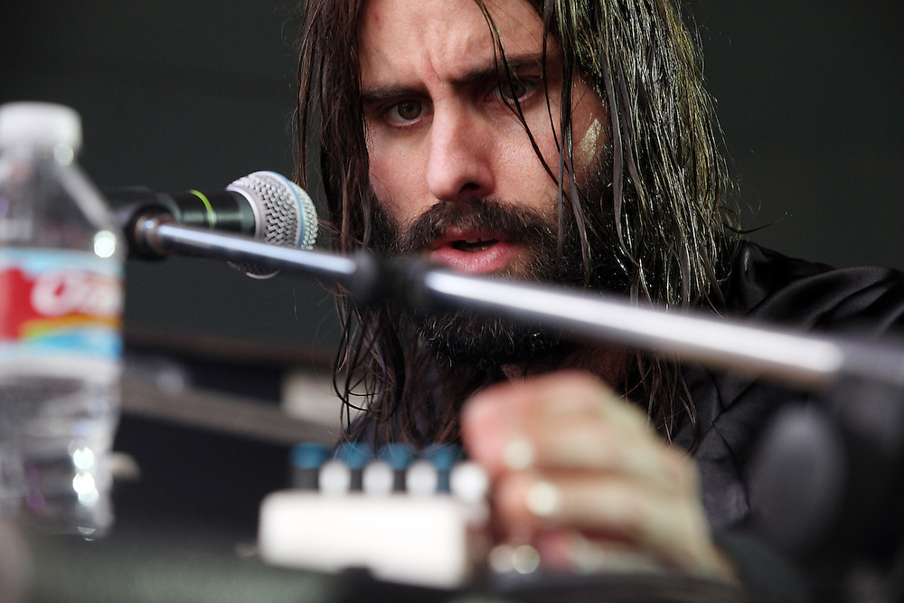 AUSTIN, TX - MARCH 19:  Andrew Wyatt of Miike Snow perfroms onstage as part of the SPIN Magazine Party at Stubbs-B-B-Q as part of SXSW 2010 on March 19, 2010 in Austin, Texas. on March 19, 2010 in Austin, Texas.  (Photo by Roger Kisby/Getty Images)