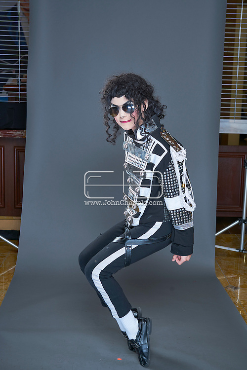 February 22, 2016. Las Vegas, Nevada.  The 22nd Reel Awards and Tribute Artist Convention in Las Vegas. Celebrity lookalikes from all over the world gathered at the Golden Nugget Hotel for the annual event. Pictured is Michael Jackson lookalike, 12-year-old Natalia Faircloth.<br /> Copyright John Chapple / www.JohnChapple.com /