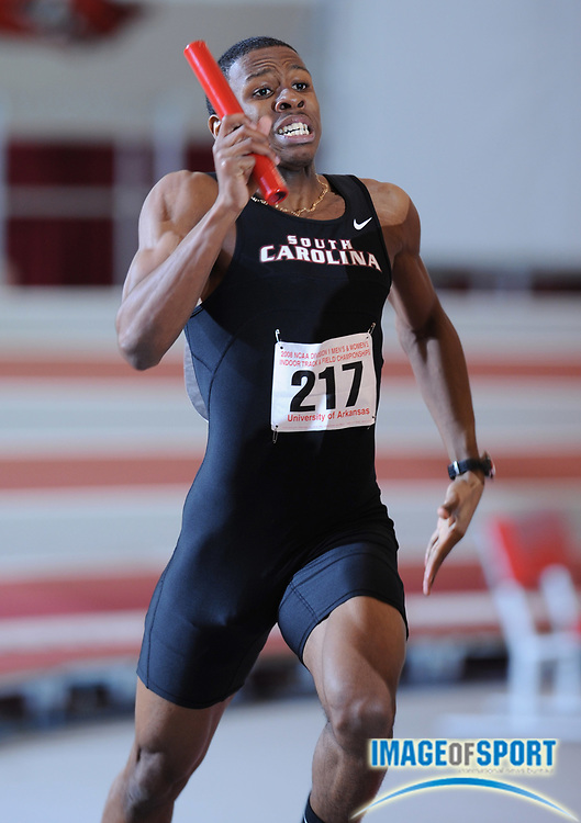 Mar 15, 2008; Fayetteville, AR, USA; Aaron Anderson runs leg on South Carolina 4 x 400m relay in the NCAA indoor track and field championships at the Randal Tyson Center.