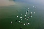 Nederland, Overijssel, Gemeente Zevenaar, 03-10-2010; Lathum,   recreatiegebied - recreatieplas Rhederlaag. Zeilbootjes van een zeilschool.Lathum, recreational lake Rhederlaag. Small sailboats of a sailing school.luchtfoto (toeslag), aerial photo (additional fee required).foto/photo Siebe Swart