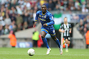 AFC Wimbledon striker Adebayo Azeez (14) celebrating promotion at the end of the Sky Bet League 2 play off final match between AFC Wimbledon and Plymouth Argyle at Wembley Stadium, London, England on 30 May 2016.