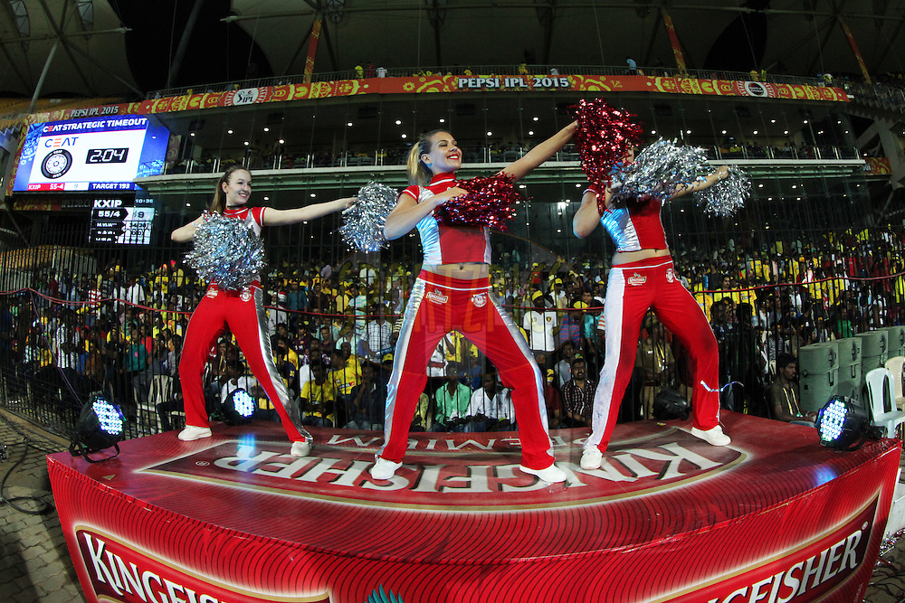 Cheargirls performing during match 24 of the Pepsi IPL 2015 (Indian Premier League) between The Chennai Superkings and The Kings XI Punjab held at the M. A. Chidambaram Stadium, Chennai Stadium in Chennai, India on the 25th April 2015.<br /> <br /> Photo by:  Saikat Das / SPORTZPICS / IPL