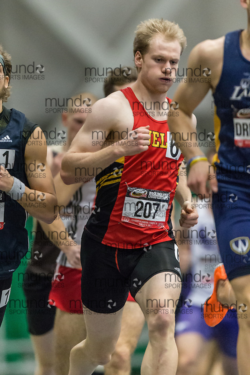 Windsor, Ontario ---2015-03-15--- Shawn Beaudoin of Guelph  competes in the pentathlon 1000m at the 2015 CIS Track and Field Championships in Windsor, Ontario, March 15, 2015.<br /> GEOFF ROBINS/ Mundo Sport Images