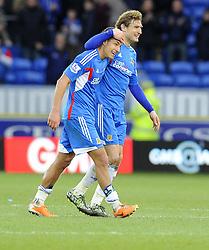 Hull City's Nikica Jelavic celebrates with Hull City's Jake Livermore on the final whistle - Photo mandatory by-line: Joe Meredith/JMP - Tel: Mobile: 07966 386802 22/02/2014 - SPORT - FOOTBALL - Cardiff - Cardiff City Stadium - Cardiff City v Hull City - Barclays Premier League