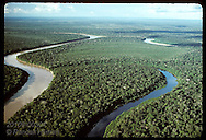 Aerial view of Jurua River (on left) & clearwater slough (right) near Eirunepe, Amazonas. Brazil