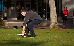 Frisbee play on upper campus PLU on Wednesday, Jan. 14, 2015. (Photo/John Froschauer)