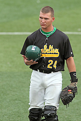 06 July 2013:   Catcher Tyler Shover during a Frontier League Baseball game between the Gateway Grizzlies and the Normal CornBelters at Corn Crib Stadium on the campus of Heartland Community College in Normal Illinois