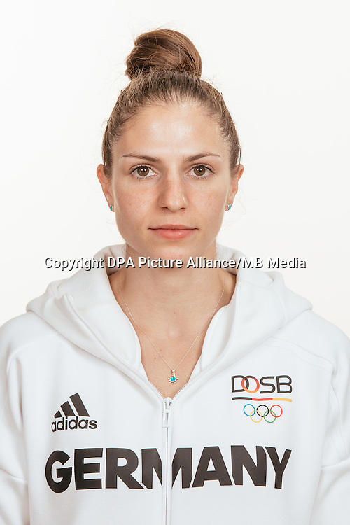 Franziska Hildebrand poses at a photocall during the preparations for the Olympic Games in Rio at the Emmich Cambrai Barracks in Hanover, Germany, taken on 20/07/16   usage worldwide