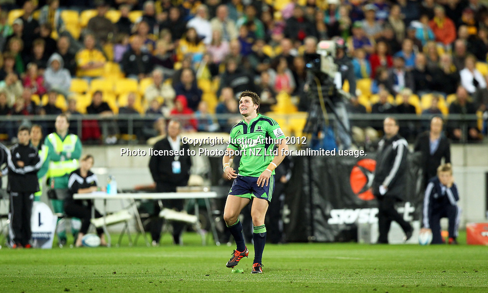 Highlanders' Colin Slade in action during the 2012 Super Rugby season, Hurricanes v Highlanders at Westpac Stadium, Wellington, New Zealand on Saturday 17 March 2012. Photo: Justin Arthur / Photosport.co.nz