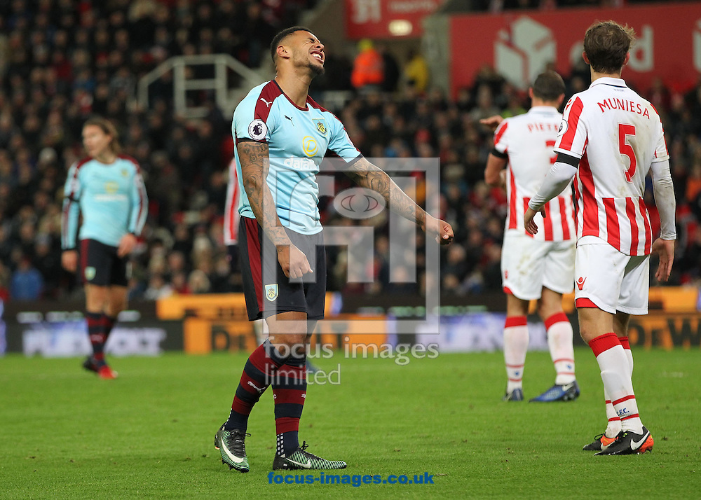 Andre Gray of Burnley shows his frustration after missing a chance to score against Stoke City during the Premier League match at the Bet 365 Stadium, Stoke-on-Trent.<br /> Picture by Michael Sedgwick/Focus Images Ltd +44 7900 363072<br /> 03/12/2016