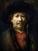 Self Portrait', 1637.  Oil on canvas. Rembrandt van Rijn (1606–1669) Dutch painter. Head-and-shoulders image with subject facing front.