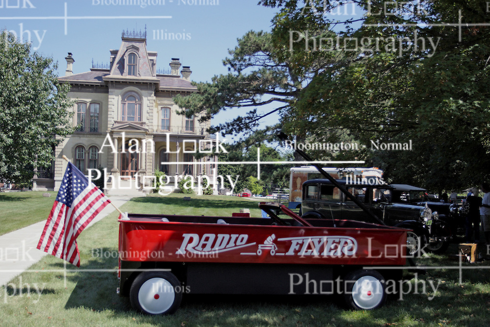 03 August 2013:  Automobile converted into a Radio Flyer Red Wagon.<br /> <br /> Displayed at the McLean County Antique Automobile Association Car show at David Davis Mansion in Bloomington Illinois