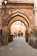 Exploring the Marrakesh Medina while on a tour of the Sufi burial tomb shrines, Morocco, 2016–04-19.