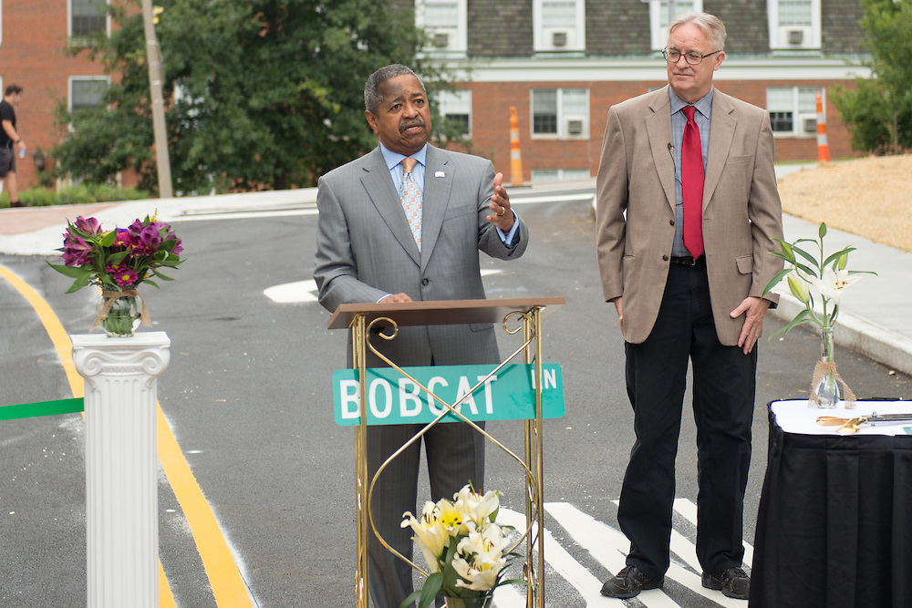 Ohio University President Roderick McDavis speaks at the opening of Bobcat Lane. Photo by Ben Siegel