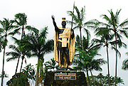 A statue of King Kamehameha the Great in Hilo, Hawaii.