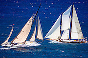 Kate and Charm III sailing in the Antigua Classic Yacht Regatta, Windward Race.
