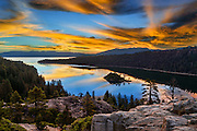 Sunrise at Emerald Bay in South Lake Tahoe, California side