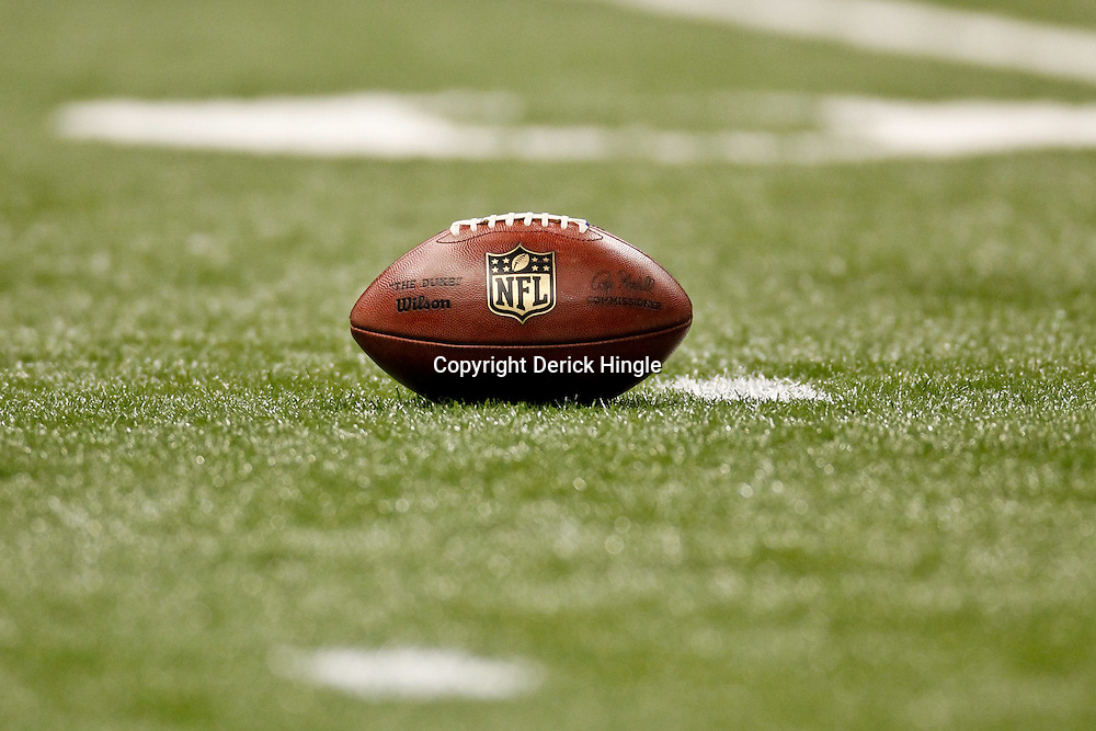 January 1, 2012; New Orleans, LA, USA; A detailed view of a NFL football  during the second quarter of a game between the New Orleans Saints and the Carolina Panthers at the Mercedes-Benz Superdome. The Saints defeated the Panthers 45-17.  Mandatory Credit: Derick E. Hingle-US PRESSWIRE