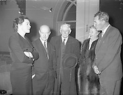 Gael Linn at Damer Hall.<br /> 1959.<br /> 16.11.1959.<br /> 11.16.1959.<br /> 16th November 1959.<br /> Gael Linn held its Oidhreacht Bhidog Mhor special at The Damer Hall,St Stephens Green,Dublin today.the actress Siobhan McKenna was among those who attended.
