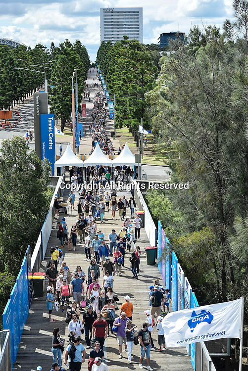 16.01.2016. Sydney, Australia. Crowds flock in to see Grigor Dimitrov (BUL) against Viktor Troicki (SRB) in the mens singles final match at the Apia International Sydney.