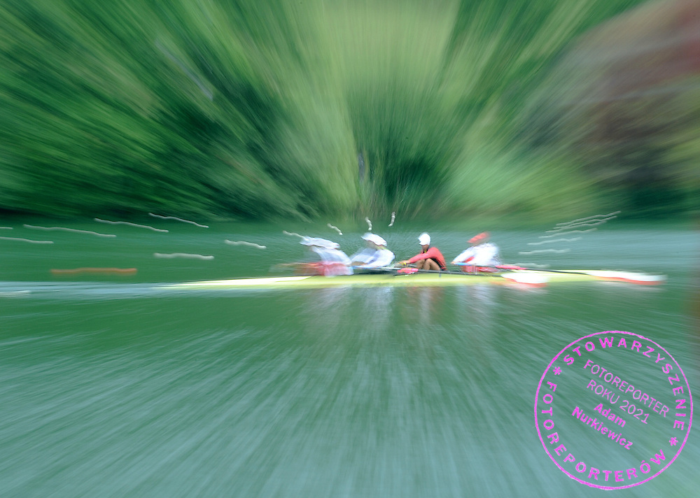 (L-R) LUKASZ PAWLOWSKI & LUKASZ SIEMION & MILOSZ BERNAJTYS & PAWEL RANDA (ALL POLAND) DURING THEIR TRAINING ONR DAY BEFORE FISA ROWING WORLD CUP ON RED LAKE IN LUCERNE, SWITZERLAND...LUCERNE , SWITZERLAND , JULY 09, 2009..( PHOTO BY ADAM NURKIEWICZ / MEDIASPORT )..PICTURE ALSO AVAIBLE IN RAW OR TIFF FORMAT ON SPECIAL REQUEST.