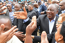 BEIJING, May 9, 2019  South African President Cyril Ramaphosa (R) greets voters at a polling station in Johannesburg, South Africa, on May 8, 2019. South Africans are flocking to about 23,000 voting stations across the nation on Wednesday to cast ballots that will determine which party is to rule the country in the next five years. (Credit Image: © Xinhua via ZUMA Wire)