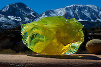 Yellow Raw Glass and Sleeping Ute Mountain. Image taken with a Nikon D3 camera and 24-70 mm f/2.8 lens (ISO 200, 70 mm, f/22, 1/250 sec). Raw image processed with Capture One Pro, Focus Magic, and Photoshop CC.