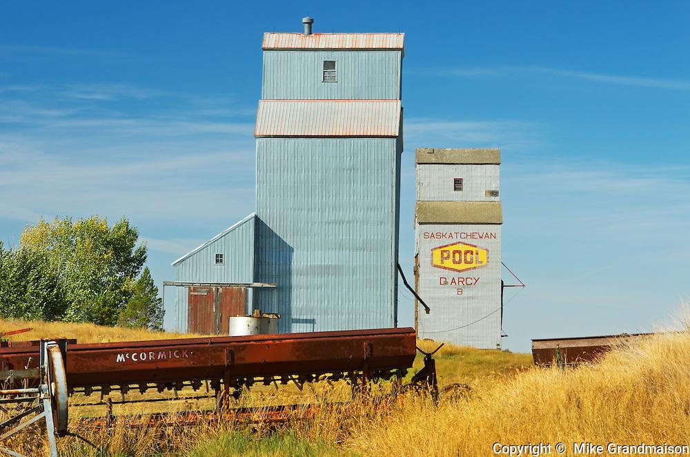 Grain elevators<br /> Darcy<br /> Saskatchewan<br /> Canada