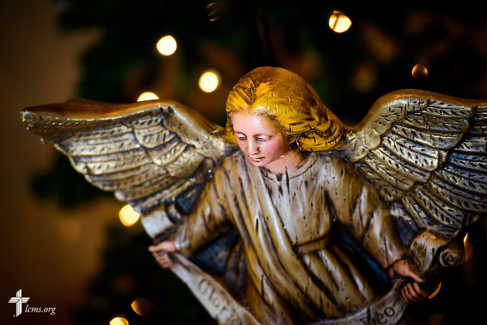 An angel above a nativity scene at Zion Lutheran Church, Mascoutah, Ill., on Monday, Nov. 27, 2017. LCMS Communications/Erik M. Lunsford