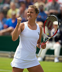 30.06.2014, All England Lawn Tennis Club, London, ENG, WTA Tour, Wimbledon, im Bild Barbora Zahlavova Strycova (CZE) celebrates a point during the Ladies' Singles 4th Round match on day seven // 15065000 during the Wimbledon Championships at the All England Lawn Tennis Club in London, Great Britain on 2014/06/30. EXPA Pictures © 2014, PhotoCredit: EXPA/ Propagandaphoto/ David Rawcliffe<br /> <br /> *****ATTENTION - OUT of ENG, GBR*****
