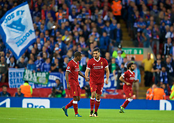 LIVERPOOL, ENGLAND - Wednesday, August 23, 2017: Liverpool's Emre Can celebrates scoring the first goal with team-mate Georginio Wijnaldum during the UEFA Champions League Play-Off 2nd Leg match between Liverpool and TSG 1899 Hoffenheim at Anfield. (Pic by David Rawcliffe/Propaganda)