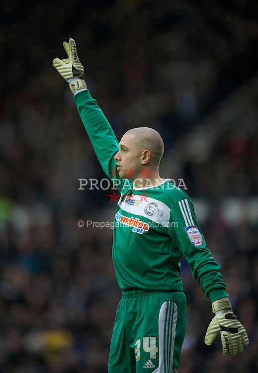 DERBY, ENGLAND - Saturday, March 12, 2011: Derby County's goalkeeper Frank Fielding in action against Derby County during the Football League Championship match at Pride Park. (Photo by David Rawcliffe/Propaganda)