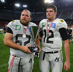 29.07.2017, Woertersee Stadion, Klagenfurt, AUT, AFL, Austrian Bowl XXXIII, Dacia Vikings Vienna vs Swarco Raiders Tirol, im Bild Paul Philipp Lasch (Swarco Raiders Tirol, #62, OL) und Sean Shelton (Swarco Raiders Tirol, #12, QB) // during the Austrian Football League Austrian Bowl XXXIII game between Dacia Vikings Vienna vs Swarco Raiders Tirol at the Woertersee Stadion, Klagenfurt, Austria on 2017/07/29. EXPA Pictures © 2017, PhotoCredit: EXPA/ Thomas Haumer