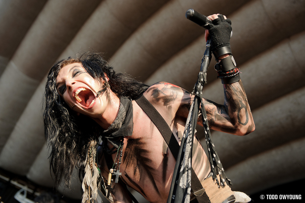 The Black Veil Brides performing on Warped Tour at Verizon Wireless Amphitheater in St. Louis, Missouri on August 3, 2011. © Todd Owyoung.