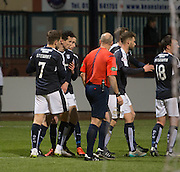 Dundee&rsquo;s Paul McGinn is congraulated after scoring the opening goal - Dundee v Dumbarton, William Hill Scottish Cup Fifth Round at Dens Park<br /> <br />  - &copy; David Young - www.davidyoungphoto.co.uk - email: davidyoungphoto@gmail.com