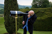 ROLF SACHS LOOKING AT 'FOCUS LENGTH'  BY JAMES HOPKINS. The Artists' Playground. Reconstruction 3: Contemporary Art at Sudeley Castle, 2008 In partnership with Phillips de Pury & Company and supported by Chanel. 31 May 2008. *** Local Caption *** -DO NOT ARCHIVE-© Copyright Photograph by Dafydd Jones. 248 Clapham Rd. London SW9 0PZ. Tel 0207 820 0771. www.dafjones.com.
