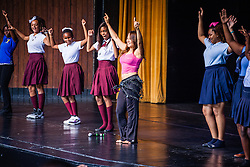 Sahar Sami, artistic director of the award-winning Sahar Dance Company leads Reichhold Center's Artist in Residency workshop for elementary, middle, and high schoolers.  Sahar, who originates from the Dominican Republic, and now teaches and tours internationally,  led students through a series of moves typical of Egyptian style dance.  Sahar will perform with 15 other dancers of Sahar Dance Company on Saturday night at 8pm.  Reichhold Center for the Arts.  18 October 2013.  © Aisha-Zakiya Boyd