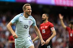 England's Harry Kane celebrates after scoring his sides first goal  - Mandatory byline: Matt McNulty/JMP - 07966386802 - 22/05/2016 - FOOTBALL - Etihad Stadium -Manchester,England - England v Turkey - International Friendly