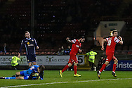 David Mooney of Leyton Orient (right) celebrates scoring his team's fourth goal to make it 4-1 during the Sky Bet League 1 match at the Matchroom Stadium, London<br /> Picture by David Horn/Focus Images Ltd +44 7545 970036<br /> 22/11/2014
