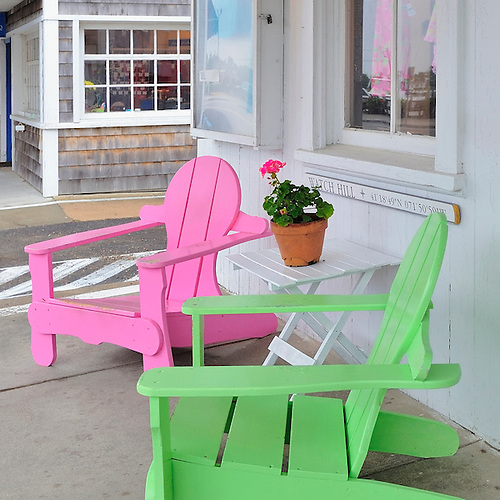 Colorful Neon Pink And Lime Green Summer Adirondack Chairs In Watch Hill,  Rhode Island,