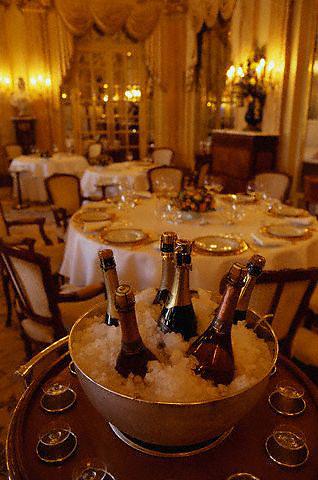 1997, Monte-Carlo, Monaco --- Chilled Champagne at Le Louis XV Restaurant --- Image by © Owen Franken/CORBIS