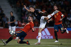 September 11, 2018 - Alicante, Alicante, Spain - Ivan Perisic (C) of Croatia kicks the ball next to Dani Carvajal Ramos of Spain during the UEFA Nations League A group four match between Spain and Croatia at Martinez Valero  on September 11, 2018 in Elche, Spain  (Credit Image: © David Aliaga/NurPhoto/ZUMA Press)