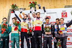 02.03.2019, Seefeld, AUT, FIS Weltmeisterschaften Ski Nordisch, Seefeld 2019, Nordische Kombination, Teambewerb, Flower Zeremonie, im Bild Vinzenz Geiger (GER), Eric Frenzel (GER), Johannes Rydzek (GER), Fabian Riessle (GER), Espen Bjoernstad (NOR), Joergen Graabak (NOR), Jan Schmid (NOR), Jarl Magnus Riiber (NOR), Bronze Medaille für Mario Seidl (AUT), Bernhard Gruber (AUT), Lukas Klapfer (AUT), Franz-Josef Rehrl (AUT) // Vinzenz Geiger of Germany Eric Frenzel of Germany Johannes Rydzek of Germany Fabian Riessle of Germany Espen Bjoernstad of Norway Joergen Graabak of Norway Jan Schmid of Norway Jarl Magnus Riiber of Norway Mario Seidl of Austria Bernhard Gruber of Austria Lukas Klapfer of Austria Franz-Josef Rehrl of Austria during the flowers ceremony for the team competition for Nordic Combined of FIS Nordic Ski World Championships 2019. Seefeld, Austria on 2019/03/02. EXPA Pictures © 2019, PhotoCredit: EXPA/ Stefanie Oberhauser